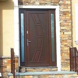 Modern Exterior Wood Door  with Sidelights - Liberty Windoors Corp