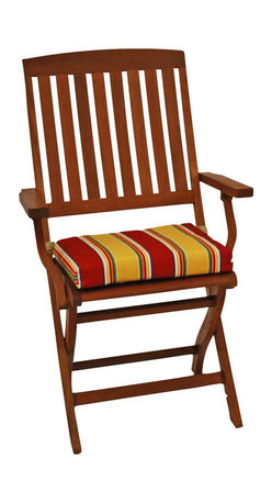 Blazing Needle Designs - Cushion for Outdoor Folding Chair - Set of 6 (Haliwell Multi) - Fabric: Haliwell Multi. Set of 6. Chair not included. All weather resistant. UV light fading protection. Dacron insert. Washable once the Dacron insert is taken out of the cushion. Thickness: 4 in.Can also be used for any standard patio chaise lounge, while keeping the second chaise lounge cushion as an extra.