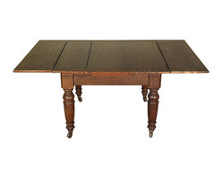 Antiques - 6Ft Antique English Solid Oak Drawleaf Dining Pub Table w/ Casters - Country of Origin: England