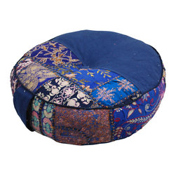 "Modelli Creations - Bohemian Khambari Meditation Cushions, Blue - These handmade meditation cushions or 'zafus' are carefully made by artisans in India and include a handle for easy carrying to and from your favorite meditation spot. 18"" diameter, 5"" thick."