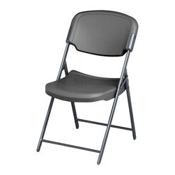 """Iceberg - Folding Chair in Charcoal - Ergonomically designed for superior comfort. Oversize seat and back. Strong and lightweight. Sturdy, heavy gauge, powder coated and oval steel tube frame. For indoor or outdoor use. Plastic feet. Compact storage. Made from blow molded high density polyethylene. Load Capacity: 225 lbs.. Open: 18.75 in. W x 21.5 in. D x 35.5 in. H. Folded: 18.75 in. W x 5.25 in. D x 44.5 in. HThis folding chair is extraordinarily comfortable. Ergonomically contoured, extra wide seat and back provide all-day support with a softer feel. The seat and back are constructed of blow molded high density polyethylene with soft radius edges. This gives both the seat and back a """"soft"""" but """"firm"""" feel."""
