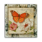 "Tile Art Gallery - Sweet Nectar I Ceramic Accent Tile, 12in - This is a beautiful sublimation printed ceramic tile entitled ""Sweet Nectar"" by artist Janet Tava. The printed tile displays a gorgeous butterfly and rose accompaniment with many vivid colors."