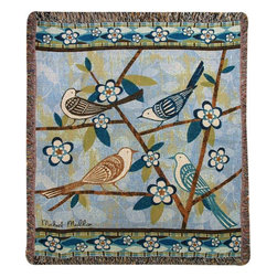 Manual - `Bird Watching` Bird Art Print Tapestry Throw Blanket 50 Inch X 60 Inc - This multicolored woven tapestry throw blanket is a wonderful addition to the decor of any bird lover. Made of cotton, the blanket measures 50 inches wide, 60 inches long, and has approximately 1 1/2 inches of fringe around the border. The blanket features a print of 4 birds on a tree branch. Original artwork is by Michael Mullan. Care instructions are to machine wash in cold water on a delicate cycle, tumble dry on low heat, wash with dark colors separately, and do not bleach. This comfy blanket makes a great housewarming gift that is sure to be loved.