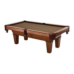 FatCat - 7Ft Frisco Billiard Table with Play Pkg - Includes 2 x 57 in. Cues, 1 set of 2.25 in. billiard balls, plastic triangle, and chalk. Solid wood 6 in. rails with K-66 rubber bumpers. Brown wool cloth. White diamond inlays. Fringe drop pockets. 1 in. MDF Accuslate play surface. Beveled legs: 3/4 in. MDF Maple wood veneer with Maple finish. Playfield size: 78 in. x 39 in.. 90 days WarrantyChallenge your friends to a game of pool with this elegantly designed Frisco Billiard table. This table has a 1 in. MDF Accuslate play surface and K66 rubber bumpers allowing for better play. The legs are beveled to give it a unique look and it has a classy brown wool cloth that will look ideal in any home game room. Accessories include two 57 in. Cues, 1 set of billiard balls, two pieces of chalk, a triangle and a brush.