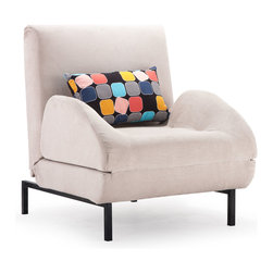 ZUO MODERN - Conic Arm Chair Sleeper Cement Body & Color Block Back Cushion - The Conic Arm Chair folds out to a twin sized sleeper for comfort, style, and flexiblity.  The body is fabric with steel legs.