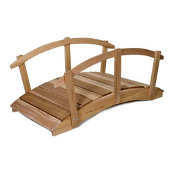 All Things Cedar - 6ft. Cedar Garden Arch Bridge with Hand Rails - In addition to their great functional value, our arched garden bridges satisfy with solid cedar sides and clear Western Red Cedar foot planks. Item is made to order.