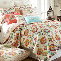 Levtex Home - Cascade Quilt Set - This quilt's bright and beautiful flowers and paisley will bring a little sunshine into your bedroom. Its soft cotton will keep you snug late in the morning till the bluejays sing.   Includes quilt and two shams (twin size includes one sham) 100% cotton Machine wash cold; tumble dry low Imported