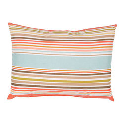 Jaipur - Veranda Shell Aqua 13 x 18-Inch Decorative Pillow - - These fashion forward pillows in trellis stripes and whimsical patterns are for both indoor and outdoor use      - Care Instructions: Remove the throw pillow's cover if it is removable. Wash the cover separately from the pillow. Pre-treat badly soiled or stained areas on the pillow cover with a color-safe prewash spray. Rub the spray into the stain with a damp sponge. Wash the pillow cover or the whole pillow on a gentle-wash cycle in warm water with a very mild detergent. Detergent for delicate fabrics or baby clothes is usually suitable. Remove the pillow or pillow cover as soon as the washing machine has ended the cycle and has shut off. Hang the pillow or cover up to dry in a well-ventilated area. If the care label specifies that the item is dryer-safe place the pillow or pillow cover in the dryer and tumble dry on low heat. Fluff the pillow once it is dry in order to maintain its form. Don't use the pillow until it is completely dry. Damp pillows will attract dirt more easily  - Made in USA Jaipur - PLW101844