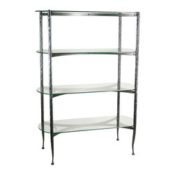 Form & Reform - Pan Shelf - Tight quarters needn't mean clutter. Whether you put it in a bath or bedroom, this hand-forged metal and glass unit has loads of space between shelves. Yet it's so pretty you'll forget how very practical it is as well.
