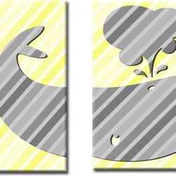 Yellow and Gray - 2 8x10 Prints featuring the split silhouette of a happy whale against a tone on tone diagonal stripped background.