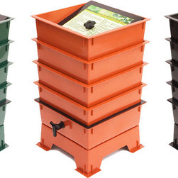 Nature's Footprint - Worm Factory 4 Tray Composter - Worm composting is an incredibly efficient way to convert kitchen scraps, junk mail and paper scraps into nutrient-rich compost for your garden. Master gardeners agree that compost produced by worms will produce the best results and help your plants thrive! The Worm Factory's stackable, multi-tray design makes it the most efficient worm bin composter around. Worms begin eating waste in the lowest tray, and then migrate upward as food sources become exhausted in the lower levels. By allowing worms to migrate upward, the worms separate themselves from the finished compost that is ready for the garden. Features: -Year-round production.-Odor Free operation.-Expandable up to 7 trays.-Trays, base, and lid are made from high-quality post-consumer recycled plastic.-4 Tray.-Comes with ''Quick-Tips'' lid for easy reference.-Made in USA.-Includes a 16-page easy-to-use instructional booklet with photos and illustrations.-Built in collection tray and spigot for easy draining.-Collection: Worm Factory.-Distressed: No.-Country of Manufacture: United States.Dimensions: -Dimensions: 24.5'' H x 16'' W x 16'' D.-Weight: 13 lbs.-Overall Product Weight: 13 lbs.Warranty: -5 Year warranty on parts and workmanship.