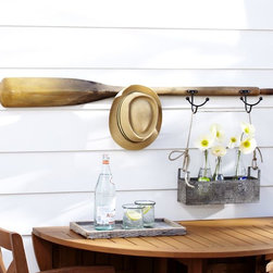 Tali Oar Row of Hooks - Add instant character with this oar hook. I love the idea of hanging straw beach hats on it in an entryway.