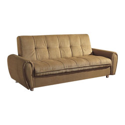 """Acme - Taylor Khaki Microfiber Fabric Upholstered Adjustable Sofa Futon Bed - Taylor khaki microfiber fabric upholstered adjustable sofa futon bed with storage underneath and tufted back with chrome finish legs. This set features a microfiber fabric upholstery and a folding back to lay flat to convert to a sleep area. Measures when flat 82"""" x 46"""" x 21""""H. Measures when upright 82"""" x 36"""" x 34""""H. Some assembly required."""