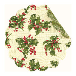C F enterprises - Holly Cream Round Placemat - High quality quilted placemats by C F Enterprise transform your table in fresh colors and styles.   Cream base with holly sprigs. Reverses to green plaid.