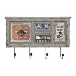 Antique Wall Plaque with Hooks - 27W x 17H in. - The Antique Wall Plaque with Hooks - 27W x 17H in. is your ticket to a perfect room - literally. Featuring vintage ticket designs, this wall plaque is crafted of high-quality wood with a heavily distressed finish. Faux drawer pulls on each ticket add a little whimsy, and below, the four metal hooks are a great place to hang your keys.