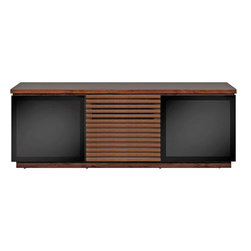 """Bell'o - Bello AV Cabinet Holds Up to 70"""" TV - Contemporary styling with a classic look, this finely crafted hand rubbed Espresso finished wood cabinet will display most televisions up to 70"""" or 175 lbs. and features tinted tempered safety glass doors with adjustable interior shelves that will hide up to 7 audio/video components while allowing remote control operation."""