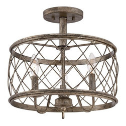 Quoizel - Quoizel RDY1714 Dury 3 Light Semi-Flush Mount Ceiling Fixture - Features: