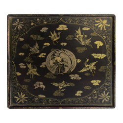 Golden Lotus - Chinese Antique Square  Hand Paint Tray Gold CraneDisplay - This is a Chinese antique hand painting tray which is made of solid elm wood.  It comes with detail  crane painting on it.