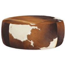 Lind Cowhide Round Ottomans - Cocktail Tables - Living - Room & Board