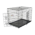 "MAJESTIC PET PRODUCTS - Double Door Folding Dog Crate - The perfect go-to dog crate, this Titan brand wire crate is well-ventilated and easy to clean. Plus, it folds up, so you can store it easily and take it anywhere. Convenient front and side doors feature sliding bolt latches, and the removable plastic pan makes clean-up a cinch—perfect when you're housebreaking a puppy. Crate training guide and carry handle included. To buy the right size, figure out how big your dog will be when he's full-grown, and choose a crate that will be 4"" inches taller than the top of your dog's head and 4"" inches longer than your dog from nose to tail, so he can stand up, sit up, and turn around in it. This crate will be his cozy den in no time!"