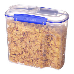 Sistema - 94-Oz. Cereal Container - This cereal container features easy-open locking clips with rubberized seals that ensure meals and ingredients stay fresh. BPA- and lead-free, it keeps food safe, while a unique stackable style makes storage simple.   Includes container and lid 7.5'' W x 8.5'' H x 4.5'' D Holds 94 oz. Polypropylene / thermoplastic elastomer BPA-free Freezer-, microwave- and dishwasher-safe Made in New Zealand