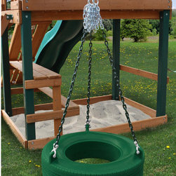 Gorilla Playsets - Commercial Grade Tire Swing in Green - Features: -Commercial grade tire swing. -360 Tire swing will swivel, swing and spin. -Boasts the totally enclosed design that won't take on water or other yard debris. -Tire swing there's no stinky odor or black residue.