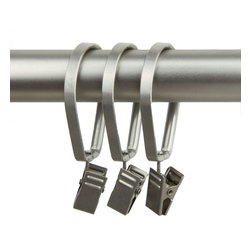 "Rod Desyne - 10 Delux Pivot Clip Rings 1-3/8"" I.D. in Satin Nickel - Rod Desyne Decorative Drapery Hardware is an excellent finishing touch to your room decor. Add these heavy duty designer rings w/ clips to your window decor.; Fits pole up to 1 inch diameter; Rings come as a set of 10; Material: Metal, Color: Satin Nickel; Weight: 0.26 lbs; Dimensions: 2.7""H x 1.6""W x 0.3""D"