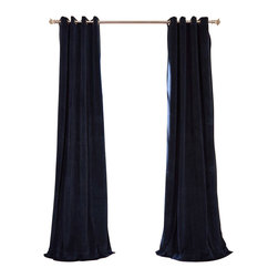 Exclusive Fabrics & Furnishings, LLC - Signature Midnight Blue Grommet Blackout Velvet Curtain - 100% Poly Velvet. Grommet. Plush Blackout Lining. Imported. Dry Clean Only.