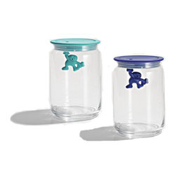 Alessi - Alessi Gianni a Little Man Holding on Tight Kitchen Box (Medium) - Kitchen box in glass with hermetic lid thermoplastic resin.  Available in six color options:  light blue, black, blue, pink, white, and yellow.  Manufactured by Alessi.Designed in 2009.