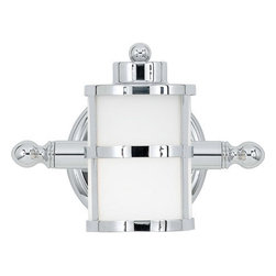Quoizel Lighting - Quoizel TB8601C Tranquil Bay 1 Light Bathroom Vanity Light, Polished Chrome - Long Description: This gleaming bath light has a classic nautical design style. The banded circular lanterns, round knob accents and polished chrome finish combine with the opal etched glass to provide ample light and plenty of charm for your bathroom.