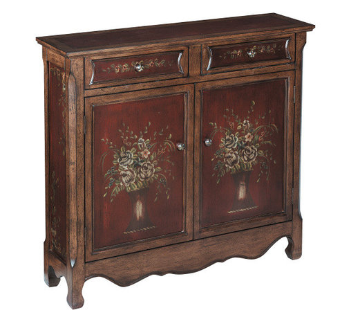 Stein World - Stein World Chamberlin Cupboard - Charming two drawer two door cupboard in burgundy and walnut finish with hand painted flower vase motif. Doors open to a single fixed shelf.