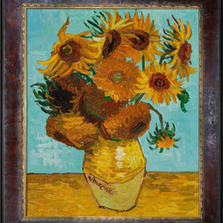 "overstockArt.com - Vincent Van Gogh - Sunflowers Oil Painting - 20"" x 24"" Oil Painting On Canvas Hand painted oil reproduction of one of the most famous Van Gogh paintings , Sunflowers. The original masterpiece was created in 1888. Today it has been carefully recreated detail-by-detail, color-by-color to near perfection. The series of sunflower paintings reminded him of the happy days spent in a yellow house with another artist. The painting series was intended to decorate Gauguin's bedroom, but only two where worthy to hold Van Gogh's signature. Van Gogh's Sunflower painting is part of a series of still life oil paintings. Among the paintings are three similar paintings with fifteen sunflowers in a vase, and two similar paintings with twelve sunflowers in a vase. Van Gogh began painting the works in late summer 1888 and continued into the following year. The paintings show sunflowers in all stages of life, from fully blossomed to withering. The paintings are considered innovative for their exclusive use of the yellow spectrum. Vincent Van Gogh's restless spirit and depressive mental state fired his artistic work with great joy and, sadly, equally great despair. Known as a prolific Post-Impressionist, he produced many paintings that were heavily biographical. This work of art has the same emotions and beauty as the original by Van Gogh. Why settle for a print when you can add sophistication to your rooms with a beautiful fine gallery reproduction oil painting?"