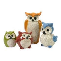 """IMAX CORPORATION - Enchanted Owls - Set of 4 - Bright finishes add whimsy to this set of four Enchanted owls enhanced with white crackle glaze accents. Set of 4 in various sizes measuring around 15.75""""L x 13""""W x 15.25""""H each. Shop home furnishings, decor, and accessories from Posh Urban Furnishings. Beautiful, stylish furniture and decor that will brighten your home instantly. Shop modern, traditional, vintage, and world designs."""