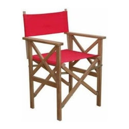 Anderson Teak - Director Folding Armchair w/ Canvas ( sold as a pair) - Director Folding Armchair is designed for any purpose of seating chair. Like our other folding chairs, this chair also fold for moving and storing so you can accommodate guests when you need to and hide the set away when you don't need it. Made in solid construction of plantation kiln dried teak with Sunbrella solid canvas fabric for your choice, which makes this chair a wise choice for your seating needs. Add any kind table of your choice for a complete set.