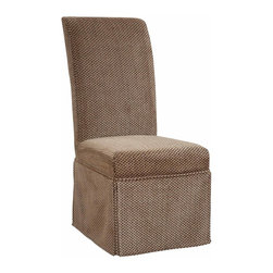 """Powell - Powell Brown & Tan Checked Chenille Skirted """"Slip Over"""" Slipcover X-Z412-147 - Designed exclusively for our """"Slip Over"""" Seating, this soft, inviting slipcover retains its smooth fit and removes easily for cleaning or changing. The Brown and Tan Checked Skirted """"Slip Over"""" is made from chenille - 72% rayon, 28% polyester. """"Slip Over"""" slipcovers are a perfect way to make your existing chairs different and new. For use with 741-440 chair."""