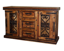 Mexican Artisans - Corozon Rustic Wood & Iron Buffet - Indeed Decor's Corozon Rustic Wood & Iron Buffet is a perfect example of rugged beauty with well-crafted wood and hand wrought iron. This Mexican buffet is large enough to store all of your entertaining essentials and features three drawers and two doors for easy access. Hacienda Rustic Buffet measures60″W x 36″H x 22″D.