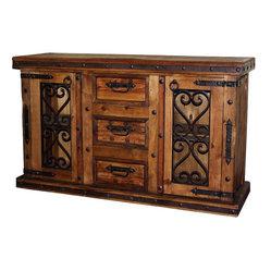 Mexican Artisans - Corozon Rustic Wood & Iron Buffet - Indeed Decor's Corozon Rustic Wood & Iron ...