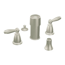 "Moen - Moen T5225BN Brushed Nickel Bidet Faucet Trim Two Lever Handle 8""-16"" Center - Moen T5225BN is part of the Brantford Bath collection. Moen T5225BN is a new style bathroom, Bidet faucet trim. Moen T5225BN has a Brushed Nickel finish. Moen T5225BN two handle widespread Bidet faucet mounts in a 3-hole 8"" - 16"" Center bidet. Moen T5225BN two handle widespread trim requires Moen's 9200 MPact Bidet Rough-in valve to make this faucet complete. Moen T5225BN is part of the Brantford bath collection, featuring its beautiful look and timeless appeal. This collections traditional style complements any homes decor. Moen T5225BN is not recommended for non-rim flush fixtures. Moen T5225BN two lever handle provides ease of operation. Brushed Nickel has a Lifeshine finish guarantee from Moen and provides style and durability. Moen T5225BN metal lever handle meets all requirements ofADA ICC/ANSI A117.1 and ASME A112.18.1/CSA B125.1, NSF 61/9 and proposition 6"". Water Sense Certified. Lifetime limited Warranty."