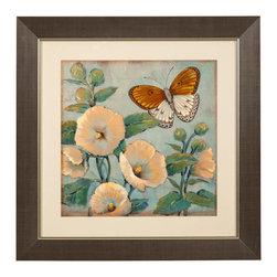 Bassett Mirror Company - Bassett Mirror Company Butterfly & Hollyhocks I Framed Art - Butterfly & Hollyhocks I Framed Art by Bassett Mirror Company Framed Art (1)