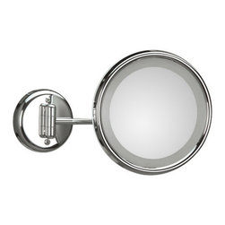 WS Bath Collections - Lucciolo Incandescent Magnifying Makeup Mirror 3x - Lucciolo 21-1 x3 by 9.5 Dia. x 12.2 Extension Magnifying Mirror with Incandescent Lamp, External Power Supply with Plug, in Chromed lated Brass and Anodized Varnished, External Power Supply with Plug Incandescent Lamp Wall-Mounted, Made of Chromed Plated Brass Free of Distortions 3x Magnification, Made in Italy
