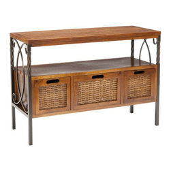 Safavieh - Safavieh Jasper Pine Wood Console Table in Pewter and Walnut - Safavieh - Console Tables - AMH6532A - The Safavieh Jasper Antique Pewter Dark Walnut Finish Console Table gets its good looks from the tasteful combination of wood natural iron and wicker. Three sturdy wood framed drawers with wicker sides and a shelf make for great storage