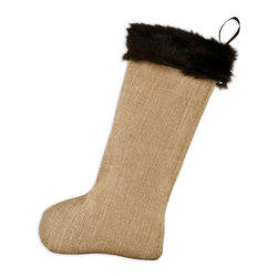Chooty & Co. - Chooty and Co. Burlap Natural with Taline Fur Cuff Christmas Stocking Multicolor - Shop for Holiday Ornaments and Decor from Hayneedle.com! The Chooty and Co. Burlap Natural with Taline Fur Cuff Christmas Stocking makes a nice neutral addition to a seasonal decor saturated in red and green. This elegant stocking is made from real burlap and shows off the material's natural color accented by a dark brown faux fur band and matching loop for quick and convenient hanging.About Chooty & Co.A lifelong dream of running a textile manufacturing business came to life in 2009 for Connie Garrett of Chooty & Co. This achievement was kicked off in September of '09 with the purchase of Blanket Barons well known for their imported soft as mink baby blankets and equally alluring adult coverlets. Chooty's busy manufacturing facility located in Council Bluffs Iowa utilizes a talented team to offer the blankets in many new fashion-forward patterns and solids. They've also added hundreds of Made in the USA textile products including accent pillows table linens shower curtains duvet sets window curtains and pet beds. Chooty & Co. operates on one simple principle: What is best for our customer is also best for our company.