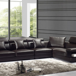 Dark Chocolate Storage Leather Sectional Sofa Set Adjustable Headrest - Features