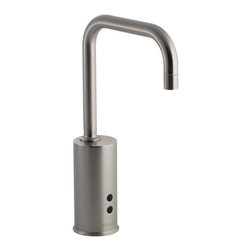KOHLER - KOHLER K-13472-VS Gooseneck Touchless Deck-Mount Faucet - KOHLER K-13472-VS Gooseneck Touchless Deck-Mount Faucet with Temperature Mixer in Stainless Steel