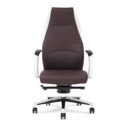 Zuri Furniture - Wrigley Genuine Leather Aluminum Base Chair, Dark Brown with White Accent - Featuring wonderful genuine leather, a synchronized mechanism and a durable reinforced aluminum frame, the Wrigley is manufactured for long life and unsurpassed comfort. The graceful, curved lumbar support in our Wrigley executive office chair provides an incredible support ergonomic alongside a handsome stylistic flair of professionalism. Available for purchase in dark brown with white accents, dark gray with black accents, light gray with dark gray accents or white with black accents.