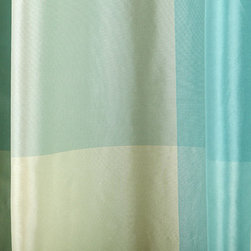 Rhone Gingham Silk Fabric in Robin's Egg Blue - Rhone Gingham Silk Fabric in Robin's Egg Blue is a 100% silk fabric that works well for light upholstery projects, drapery and other widow treatments, and throw pillows. Bright and cheery. Made in India. Width: 54″; Repeat: 30″ H 20″V