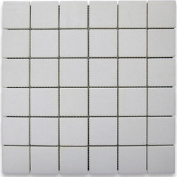 """Stone Center Corp - Thassos White Marble Square Mosaic Tile 2x2 Tumbled - Thassos White Marble 2""""x2"""" square pieces mounted on 12""""x12"""" sturdy mesh tile sheet"""