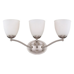 Nuvo Lighting - Nuvo Lighting 60-5053 Patton ES 3-Light Vanity Fixture with Frosted Glass - Nuvo Lighting 60-5053 Patton ES 3-Light Vanity Fixture with Frosted Glass (3) 13W GU24 Lamps Included