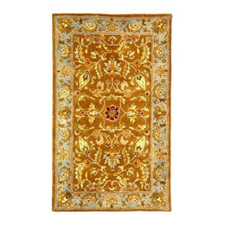Safavieh - Hand-Tufted Wool Rug in Brown and Blue - Choose Size: 2 ft. x 3 ft. Graceful and elegant with a lush chocolate brown and blue color palette, this floral patterned wool rug will be a lovely way to bring elements of the outdoors into your indoor decor. Hand tufted by artisans in India using old world techniques, the rug is available in your choice of sizes and will be a treasured addition to any design. Hand tufted. Made of Wool. Made in India.