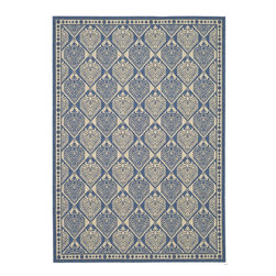 """Safavieh - Courtyard Blue/Brown Area Rug CY5149C - 2'7"""" x 5' - Safavieh takes classic beauty outside of the home with the launch of their Courtyard Collection. Made in Belgium with enhanced polypropylene for extra durability, these rugs are suitable for anywhere inside or outside of the house. To achieve more intricate and elaborate details in the designs, Safavieh used a specially-developed sisal weave."""